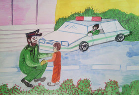 """معرفی برگزیدگان مسابقه نقاشی """"پلیس و کودک"""" درلرستان"""