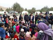 عموهای فتیلهای در جمع کودکان زلزلهزده