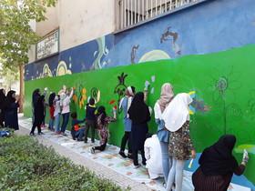 نقاشی دیواری  اعضای برگزیده مسابقههای نقاشی جهانی مراکز کانون کرمانشاه به مناسبت هفته ملی کودک