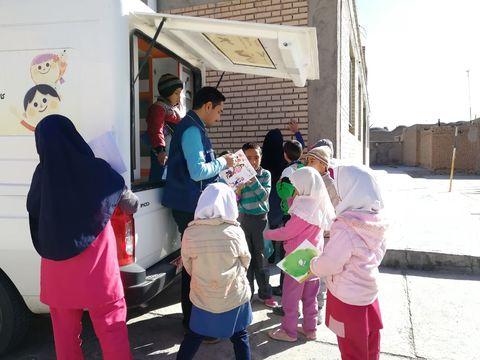 حال و هوای کتابخانه سیار روستایی خوسف در نیمه اول فصل زمستان