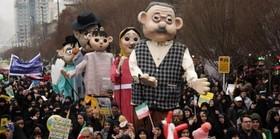 شادپیمایی عروسکها در مسیر راهپیمایی ۲۲بهمن