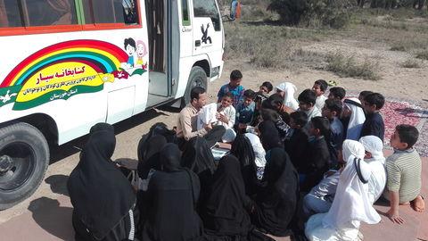 سفر کتابخانههای سیار کانون خوزستان به روستای ابوعقاب از توابع منیوحی