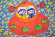 نگاه دختر ایرانی به ستارهها، برنده جایزه اول مسابقه نقاشی و پوستر اسپانیا