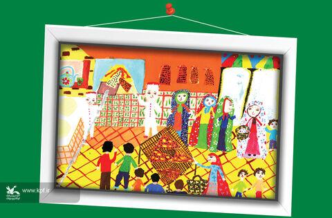 فروغ مهمی 9 ساله از خراسان جنوبی برگزیده مسابقه نقاشی تاشکند ازبکستان