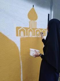 نقاشی دیواری اعضای کانون شوط به مناسبت دهه کرامت