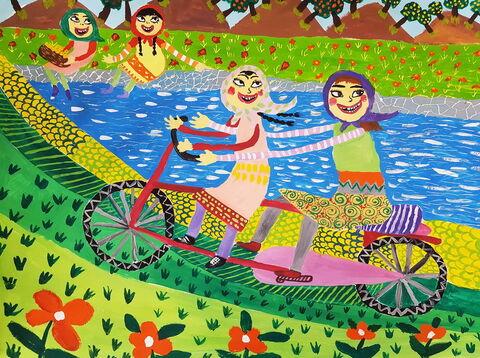 «محیا وجدانی» 11 ساله عضو کانون خوی در استان اردبیل برنده جایزه اول مسابقه نقاشی کودکان آسیایی چین