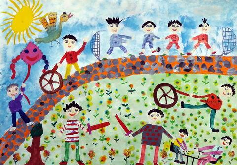 «مهدی نوعی» 10 ساله، عضو کانون رضی استان اردبیل برنده دیپلم افتخار مسابقه نقاشی کودکان آسیایی چین