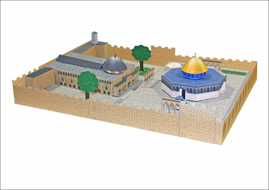 ساخت ماکت مسجدالاقصی با مجسمههای مقوایی